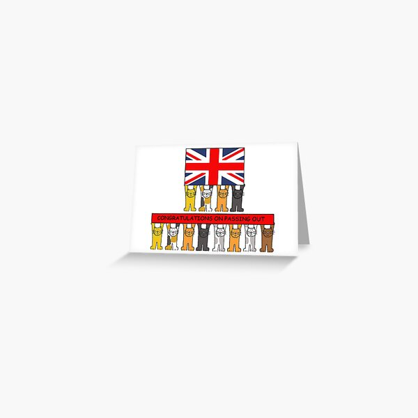 Passing Out Congratulations Cartoon Cats and UK Flag Greeting Card