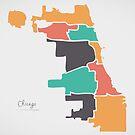 Chicago Map mit Bezirken und modernen runden Formen von Ingo Menhard