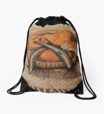 Five Loaves: Acrylic on Canvas  Drawstring Bag