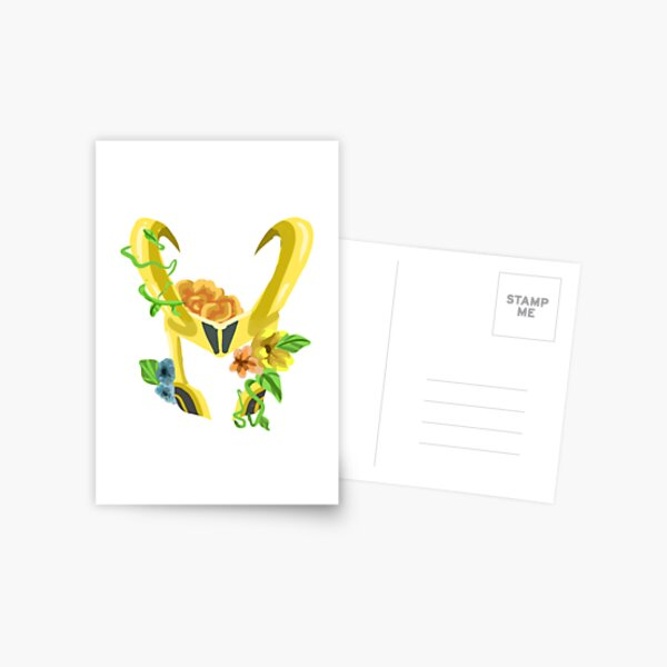 Loki's floral helmet- design Postcard