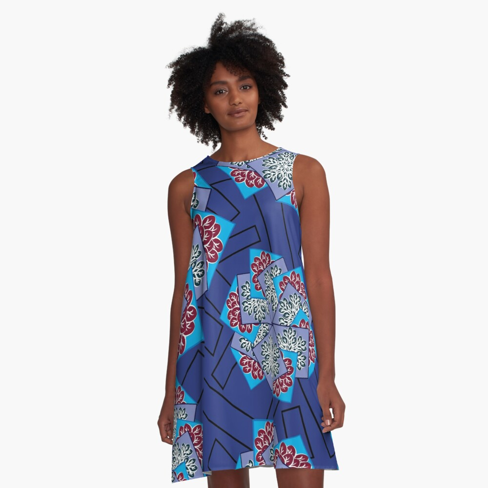 Framed Leaves With Rectangles Abstract Design A-Line Dress Front