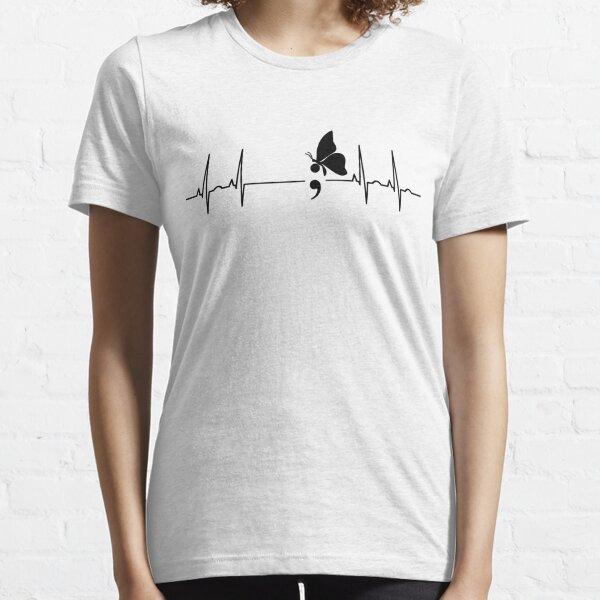 Semicolon butterfly ecg heartbeat Essential T-Shirt