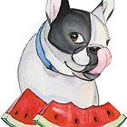 French Bulldog with watermelon by RedHeadAnnika