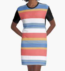 Color Strips Graphic T-Shirt Dress