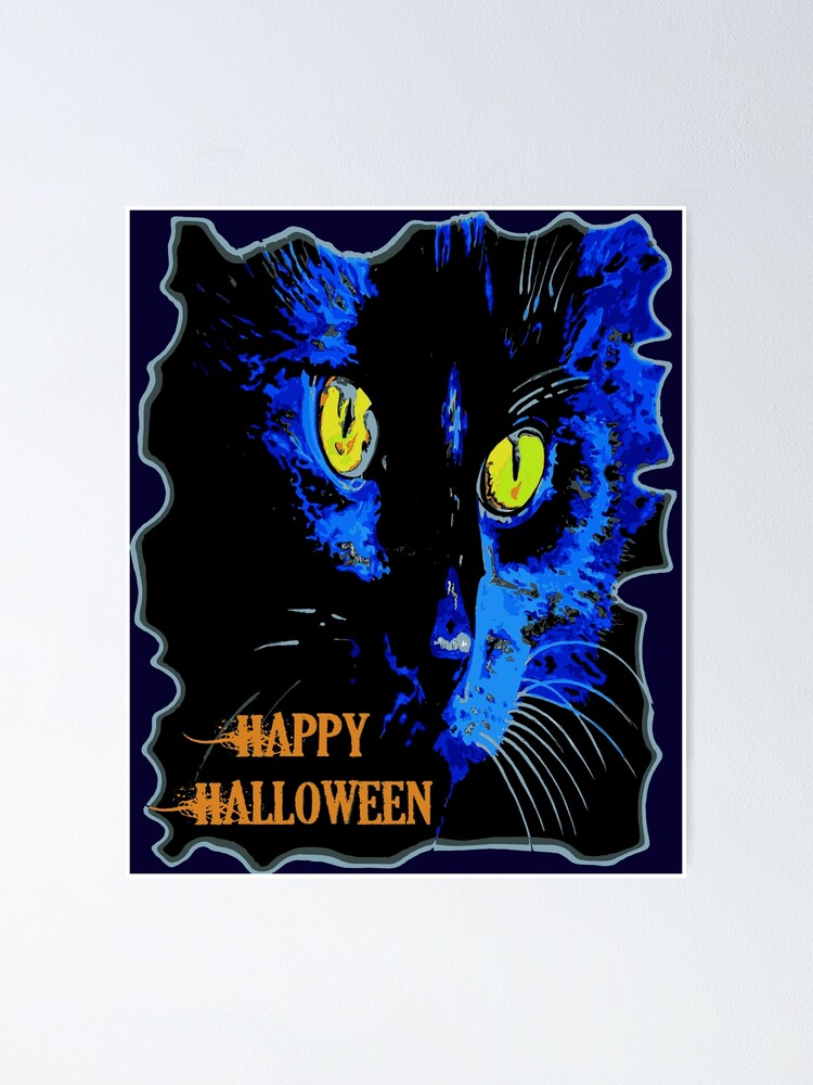 Vector 3dRose Taiche Halloween Black Cat Cute Happy Halloween Moonlight Black Cat Vector T-Shirts