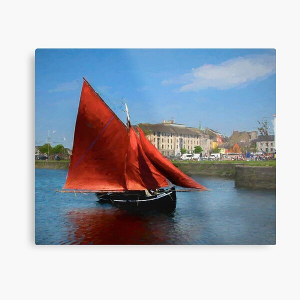 Galway Hooker at Claddagh Metal Print