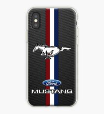 Mustang Emblem schwarzer Carbon iPhone-Hülle & Cover