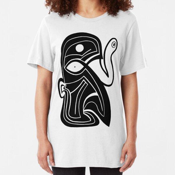 Maske Totem Schlangen Auge Slim Fit T-Shirt