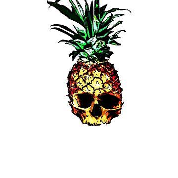 Pineapple Skull retro Vintage Hipster Funny skull gift t shirt by Johannesart