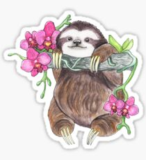 Happy Sloth mit Orchideen Sticker