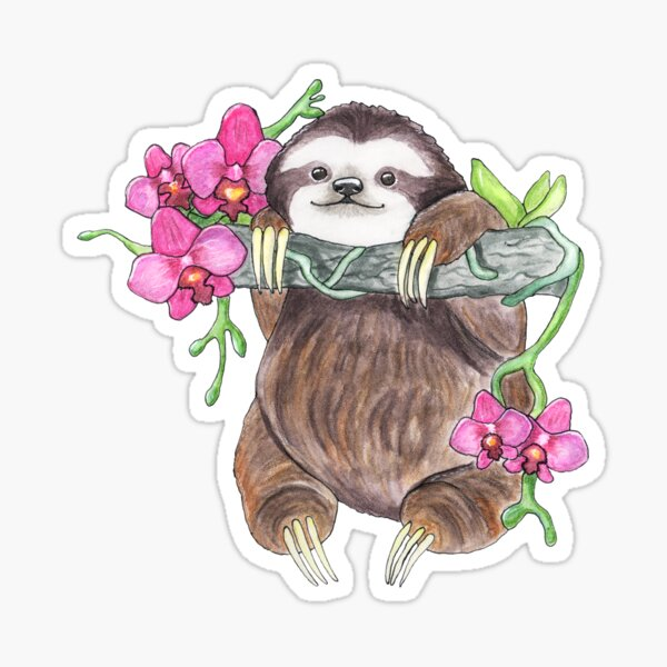Happy Sloth with orchids Sticker