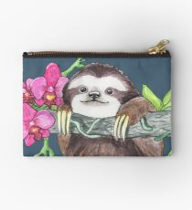 Happy Sloth with orchids Studio Pouch