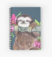 Happy Sloth with orchids Spiral Notebook