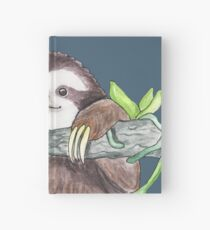 Happy Sloth with orchids Hardcover Journal