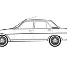 Peugeot 604 Classic Car Outline Artwork by RJWautographics