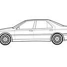Peugeot 605 24V V6 SVE Classic Car Outline Artwork by RJWautographics