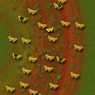 Butterfly Flight In Green, Orange and Golden Hues by MHirose