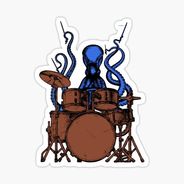 Octopus plays drums kolorierte Version Sticker