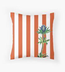 Blue Thistle and orange stripes illustrated design Throw Pillow