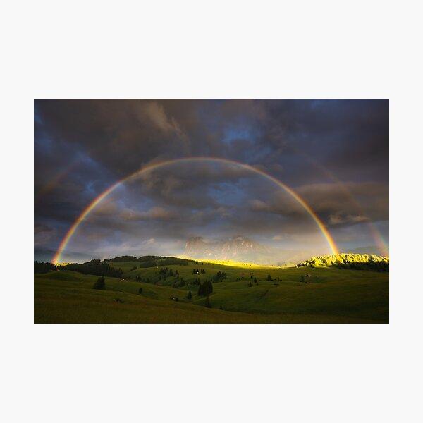 Doppelter Regenbogen über dem Langkofel Fotodruck