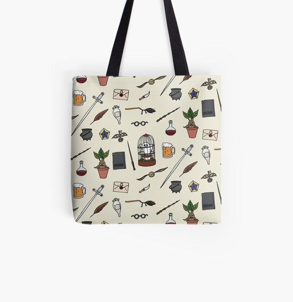 Owl and wand All Over Print Tote Bag