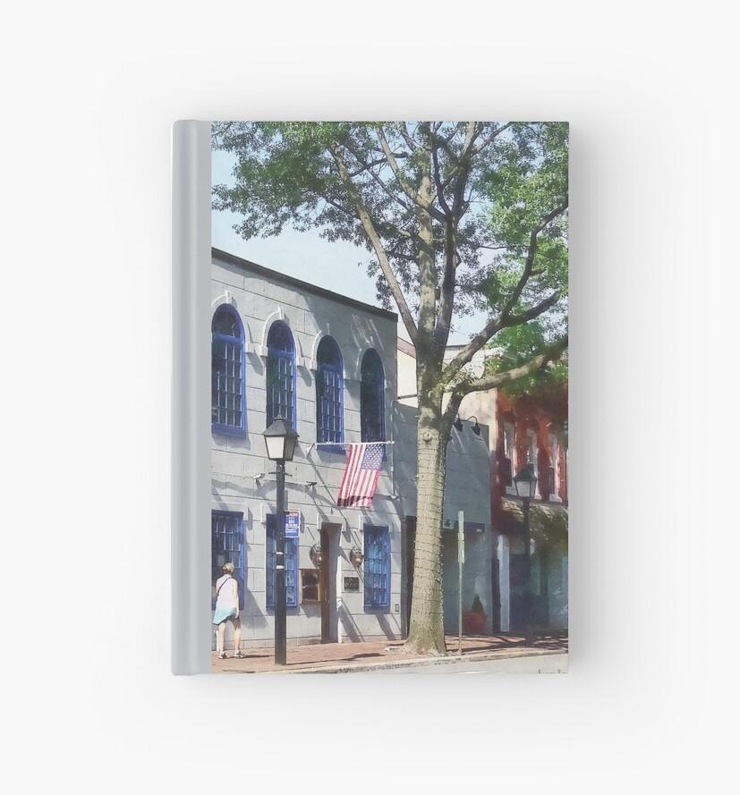 Street With American Flag Alexandria VA by Susan Savad
