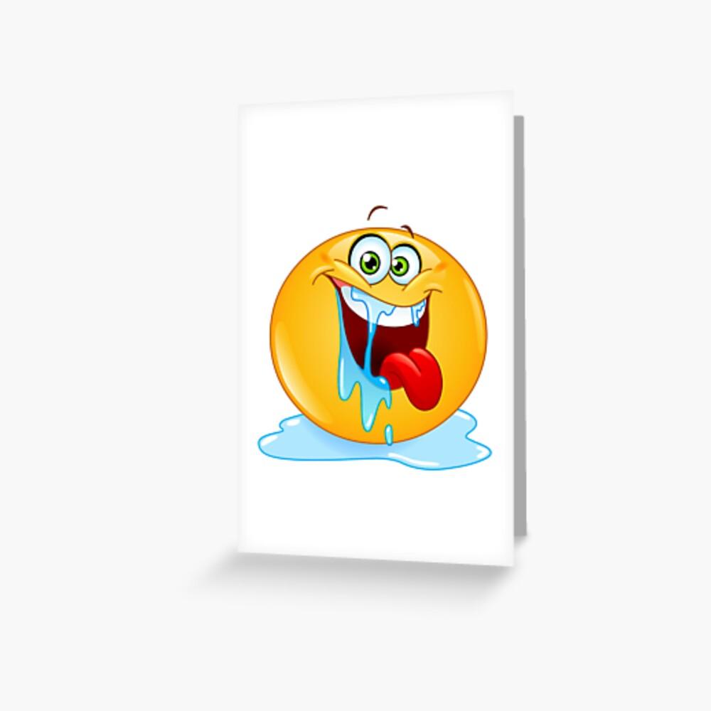 Carte De Vœux Drole Emoji Bave Par Dusicap Redbubble