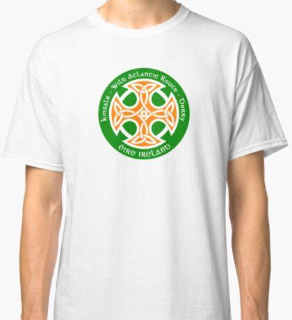 Wild Atlantic Route, Ireland - Celtic Cross - Irish Flag Colors Classic T-Shirt
