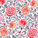 Magenta, Red & Navy Watercolor Roses  by TigaTiga
