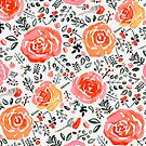 Orange, Red & Grey Watercolor Roses  by TigaTiga