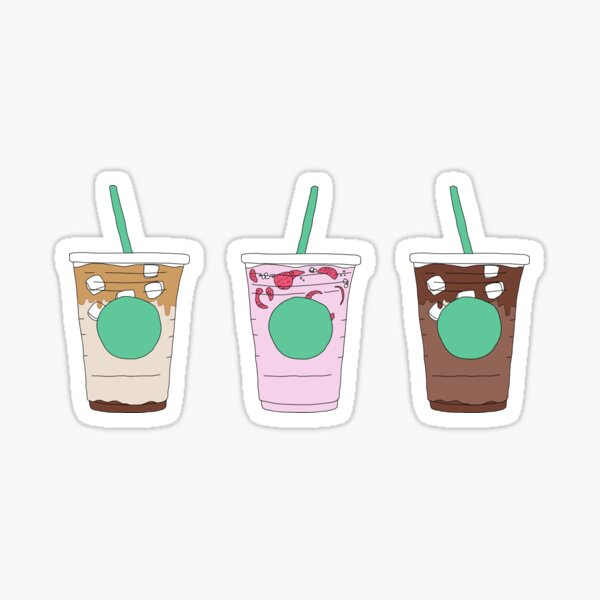 starbucks iced coffee drinks menu pack Sticker