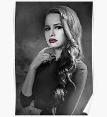 Cheryl Blossom - B&W with Red Lips Poster