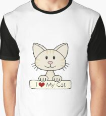 Cream Striped Cat - I Love My Cat Graphic T-Shirt