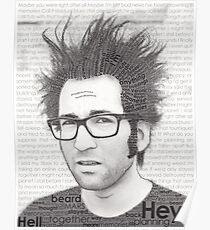 Typography Portrait of Justin Pierre (singer/guitarist) of Motion City Soundtrack Poster
