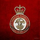 Princess Patricia's Canadian Light Infantry - PPCLI Cap Badge over Red Velvet by Serge Averbukh