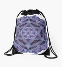 Blue girl rose mandala Drawstring Bag