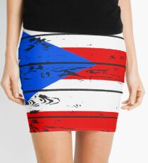 PUERTO RICO FLAG  - POPULAR WOOD OVERLAY DISTRESS FLAG DESIGN Mini Skirt