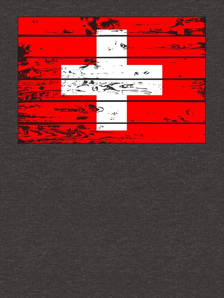 SWITZERLAND FLAG  - POPULAR WOOD OVERLAY DISTRESS FLAG DESIGN by NotYourDesign