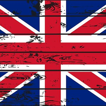 UNITED KINGDOM FLAG  - POPULAR WOOD OVERLAY DISTRESS FLAG DESIGN by NotYourDesign