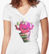 Strawberry Cactus Shirt mit V-Ausschnitt