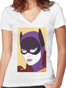 60s Bat Girl - Nagel Style Women's Fitted V-Neck T-Shirt