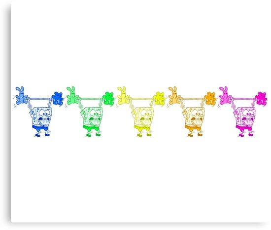 'Spongebob Lifting Weights - Grateful Dead Bears Inspired' Canvas Print by  elitehive