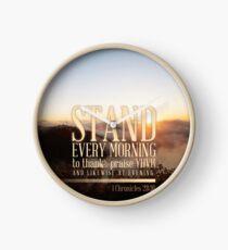 1 Chronicles 23:30 Bible Verse Morning Praise Mountain Print Clock
