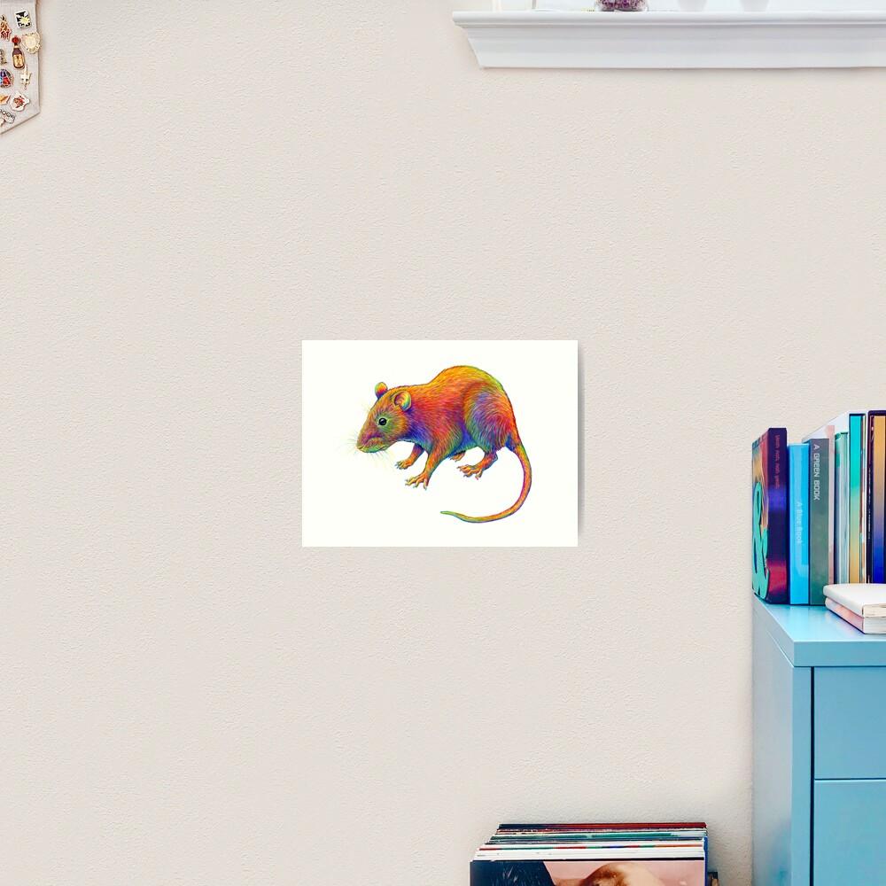 Psychedelic Rainbow Rat Art Print