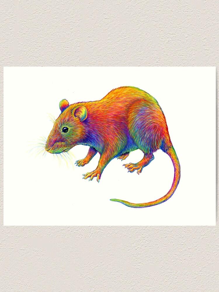 Alternate view of Psychedelic Rainbow Rat Art Print
