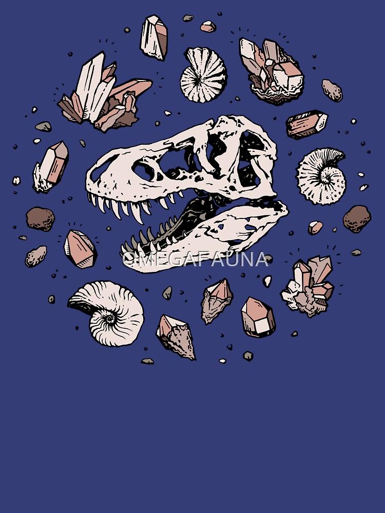 Geo-rex Vortex | Rose Quartz | Dinosaur Skull Fossil Art by OMEGAFAUNA