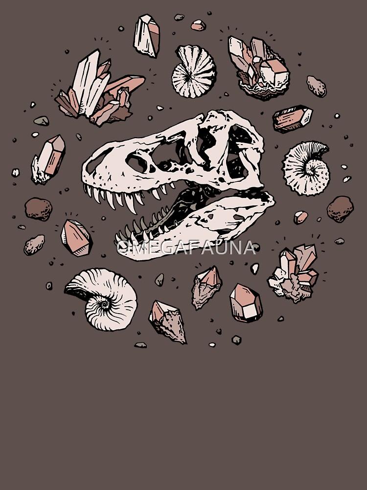 Geo-rex Vortex   Rose Quartz   Dinosaur Skull Fossil Art by OMEGAFAUNA
