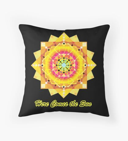 Here Comes the Sun ( sun salutation mandala for dark background) Throw Pillow