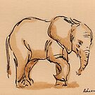 Little Lady:  Baby Elephant Watercolor Painting #17 - Loxodonta Africana by Rebecca Rees