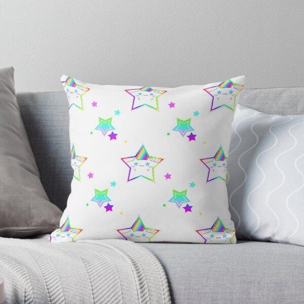 Rainbow Starry Kitty Throw Pillow